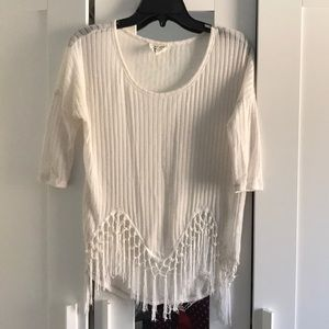 People's Project LA White Ribbed Tee w/ Fringe